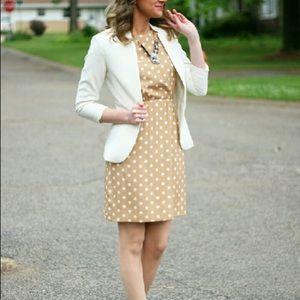 J. Crew Factory polka dot dress beige cream dots 6